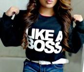 belt,sweater,clothes,crewneck,likeaboss,shirt,black!,sweatshirt,black,like a boss,long sleeves,like a boss sweater
