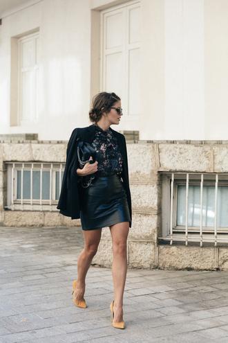 skirt tumblr black leather skirt leather skirt mini skirt black skirt shirt floral shirt black blazer blazer bag black bag pointed toe pumps high heel pumps pumps
