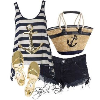 blouse ankor sailor shorts jeans bag gold slippers sandals trend