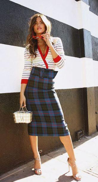 skirt blogger midi skirt rocky barnes instagram spring outfits cardigan top sunglasses sandals