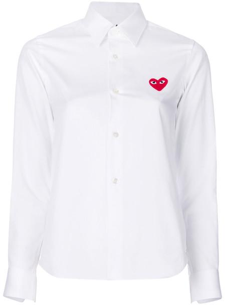 shirt heart women white cotton top