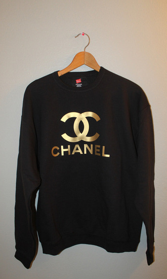 sweater fashion black gold sweatshirt pullover shirt chanel chanel inspired gold foil tumblr top designer chanel style jacket luxury chanel sweatshirts black sweater