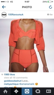 swimwear,coral,outlined,panels,high waisted bikini,summer,two-piece