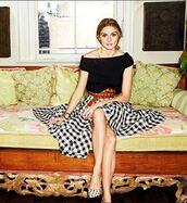 skirt,midi skirt,olivia palermo,top