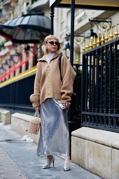 skirt,maxi skirt,silver skirt,silver,metallic,cardigan,camel cardigan,oversized,sunglasses,cat eye,oversized cardigan