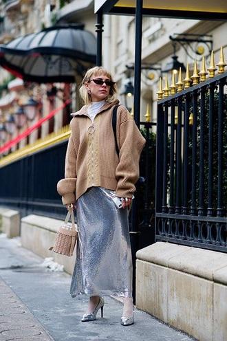 skirt maxi skirt silver skirt silver metallic cardigan camel cardigan oversized sunglasses cat eye oversized cardigan