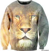 sweater,lion,printed sweater,animal face print