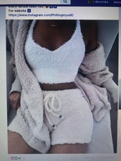 pajamas,fluffy,set,shorts,cami,microfiber,stuffed animal,white,cozy