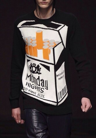 sweater cigarettes black knitted sweater streetwear streetstyle asian instagram blogger monday night quote on it printed sweater ciggarette