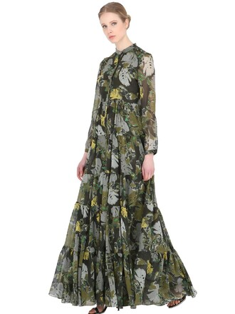 dress silk dress silk leaves green