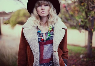 what is reality anyway? blogger hat jacket shearling jacket folk shirt jewels