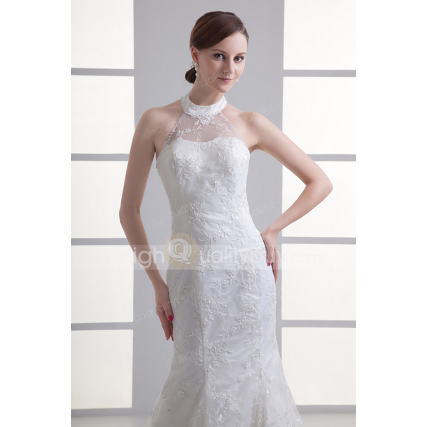 Ivory Lace Halter Chapel Train A-Line Wedding Dress_$204.99