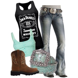 shirt jack daniel's black tank top jeans cowboy boots cowgirl boots country country style belt shoes tank top t-shirt