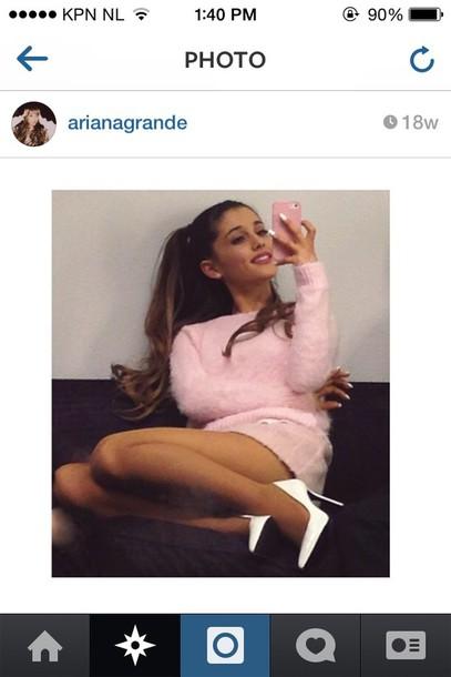 skirt ariana grande pink cute shirt jewels shoes sweater jumper dress cute dress