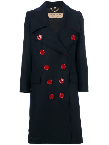 Burberry coat double breasted women blue wool