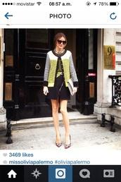 blouse,olivia palermo,coat,skirt,shoes,sunglasses