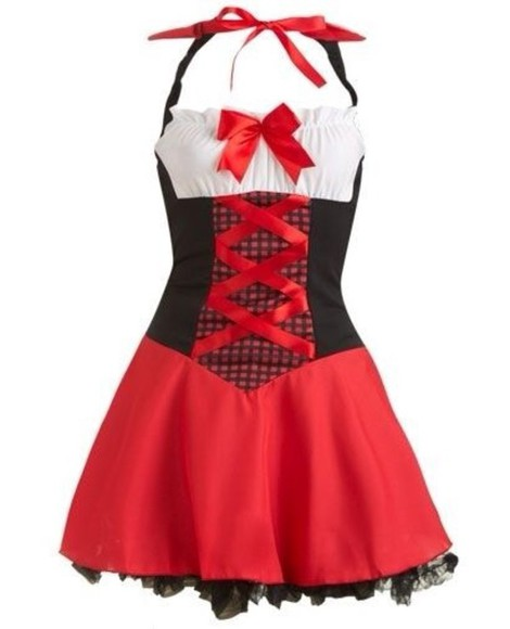 dress red short red riding hood halloween costume white apron bows