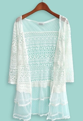 coat white lace summer long sleeves lose fit cardigan see through boutique similar lower price aztec lazer cut out