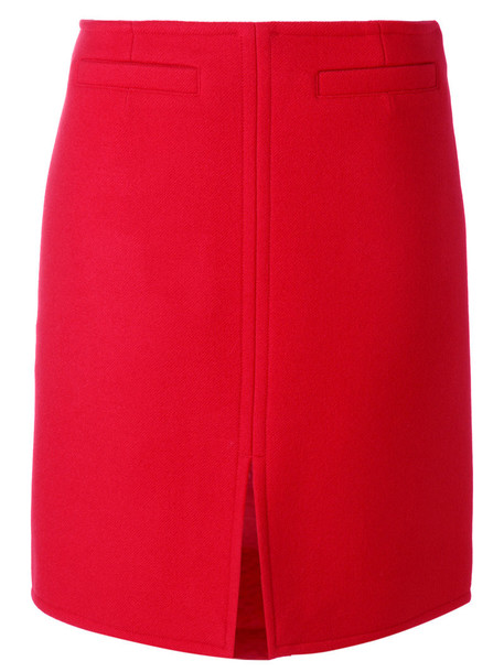 Courrèges - front slit skirt - women - Wool/Acetate/Cupro - 42, Red, Wool/Acetate/Cupro