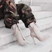 pants,pink,army green,army print,shoes,lace up,heels