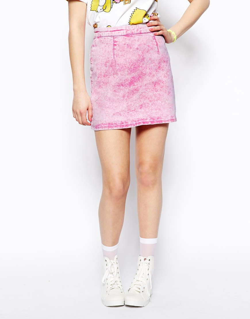 ASOS A-Line Denim Skirt in Milkshake Pink at asos.com