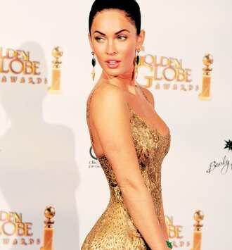 dress megan fox gold dress jewels earrings gold