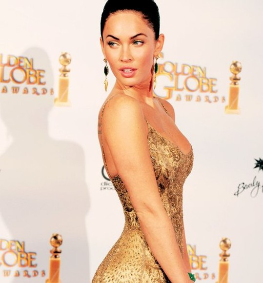 dress megan fox golden dress jewels earrings