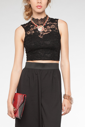 c1838eb98354b5 Black Sleeveless Top - Black Lace Crop Top with
