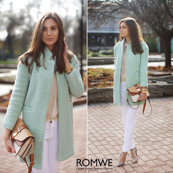 ROMWE | ROMWE Lapel Pocketed Light Green Coat, The Latest Street Fashion