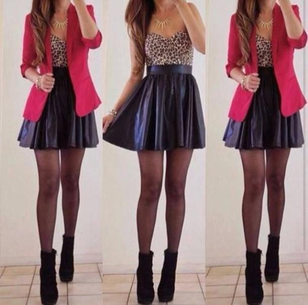 skirt black leather girly print pretty