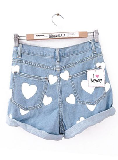 Blue High Waist Flanging Heart Print Denim Shorts