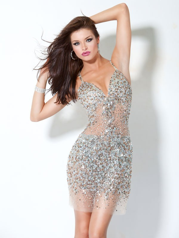 tarik ediz Free Shipping crystal dress short Sweetheart Open Back Crystal Bead deep v neck sexy Evening Dress 2014 New Arrival-in Evening Dresses from Apparel & Accessories on Aliexpress.com