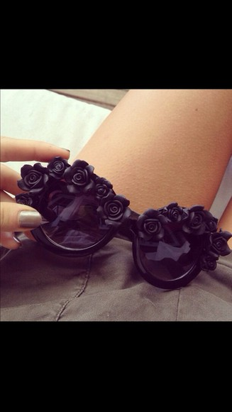 sunglasses black sunnies flowers black