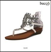 shoes,bucco,clustered rhinestones,sandels,white