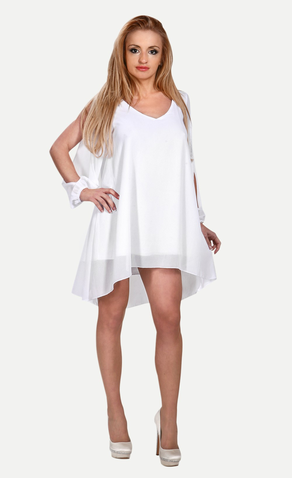 White chiffon leisure mini skater dress
