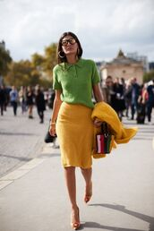 skirt,yellow skirt,top,green tops,sunglasses,shoes