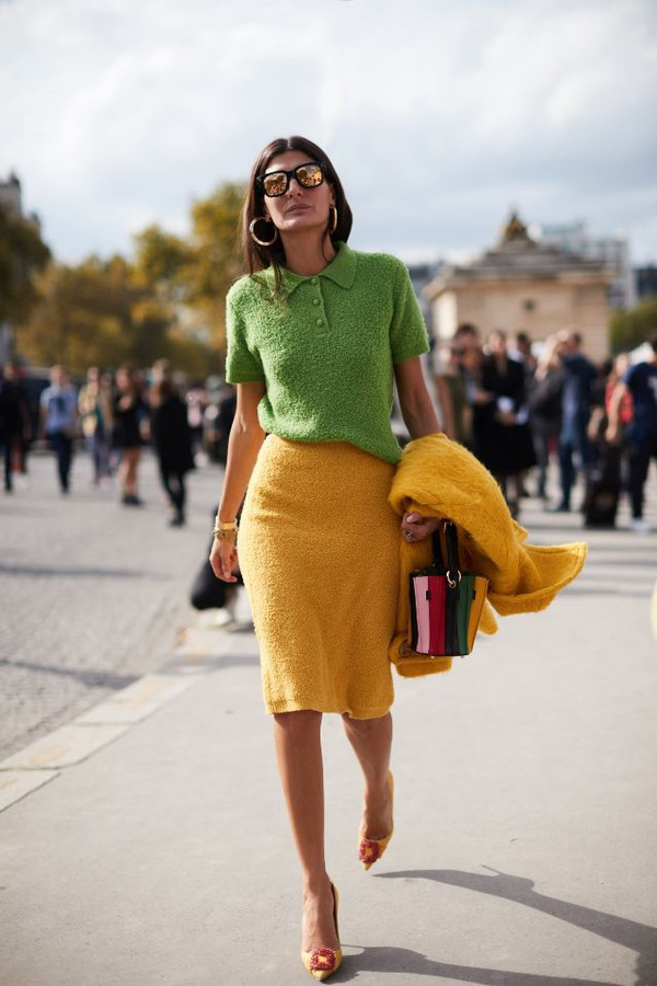 skirt yellow skirt top green tops sunglasses shoes