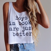 book,t-shirt,top,quote on it,white t-shirt,white shirt,grey,tank top,starbucks coffee,logo,white,crop tops,blouse,tanks top,shirt,whithe,girls hbo,fashion,cool,white crop tops,white top,guys,fangirl,fangirllife,beautiful top,lovely,cute,white blouse