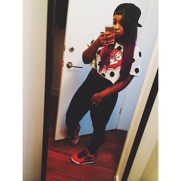 shoes air max nike air reginae carter snapback crop tops leggings dots jordans