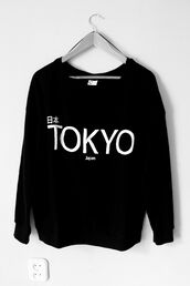 shirt,sweater,tokyo sweater,tokyo,black,cute,japan,ri ben,sweatshirt,monochrome,tumblr,jumper,black and white,japanese fashion,asian fashion,printed sweater,chanel style jacket,chanel sweater,black sweater