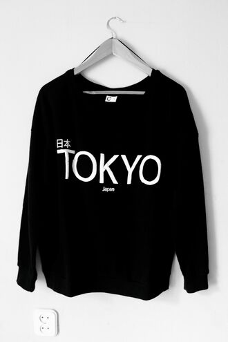 shirt sweater tokyo sweater tokyo black cute japan ri ben sweatshirt monochrome tumblr jumper black and white japanese fashion asian fashion printed sweater chanel style jacket chanel sweater black sweater