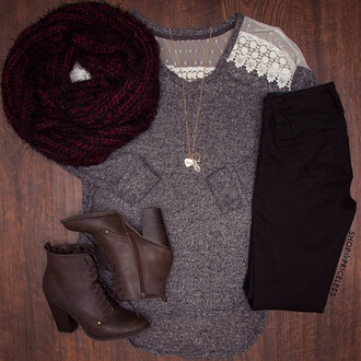 sweater clothes shirt shoppriceless gray blouse grey sweater lace-up boots