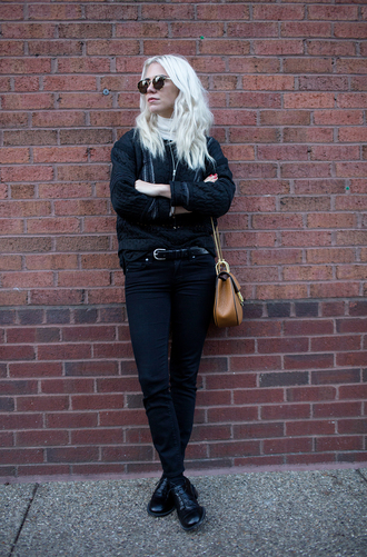 always judging blogger belt bag black black jeans minimalist boyish asos alexa chung