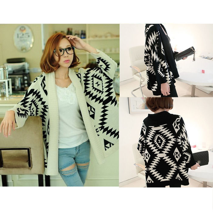 Women White Aztec Oversized Open Front Loose Sweater Cape
