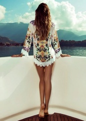 dress,swimwear,cover up,flower design,lace dress,floral,summer,beach,cruise,spring,style,fashion,summer dress,blouse,crochet,white,Isabeli Fontana,cardigan,paradise,pure color,sexy,sweater,floral swimwear,flowers,top,clothes,colorful,jacket,flowy,jeans,multicolor,kimono,kaftan,kaftan dress,short dress,cover up swimsuit,shirt,tunic,romper