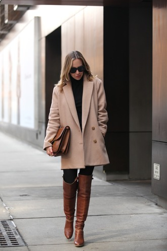 brooklyn blonde blogger sunglasses camel coat brown leather boots satchel bag coat skirt scarf tights bag make-up opaque tights