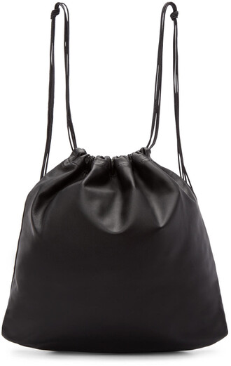 drawstring backpack leather black black leather bag