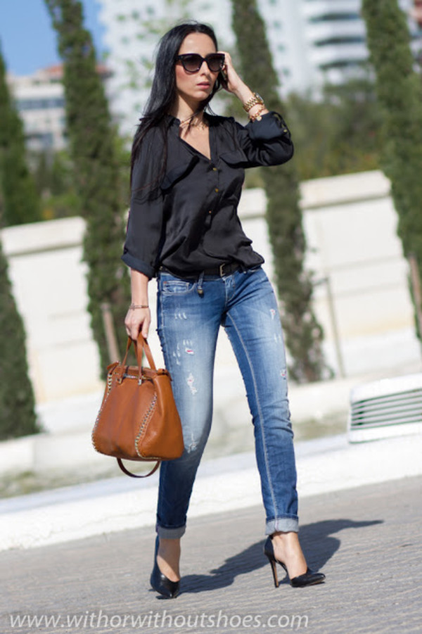 with or without shoes jeans shirt belt jewels shoes bag sunglasses
