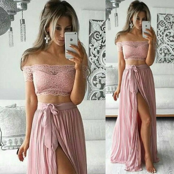 dress fashion vibe fashion summer outfits wedding clothes pink dress slit skirt lace top off the shoulder top