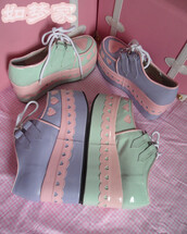 shoes,pastel,pastel platforms,pastel creepers,heart,heart shoes,platform shoes,creepers,fake creepers,purple,aqua,green,lace,lace up,laces,cute,pink,sweet,kawaii,loli,lolita,petit and sweet couture,petite,petite fashion,pastel pink,cutie,mint,white